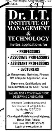 Professor Assistant Professor and Associate Professor (Dr IT Institute of Management and Technology)