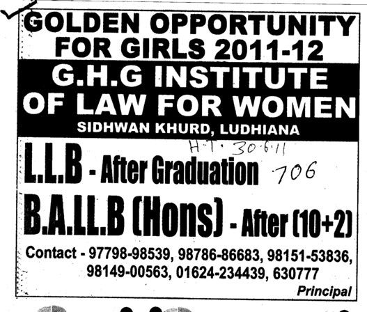 BA and LLB Courses (GHG Institute of Law for Women Sidhwan Khurd)