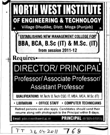 Director and Principal required (North West Institute of Engineering and Technology NWIET Moga)