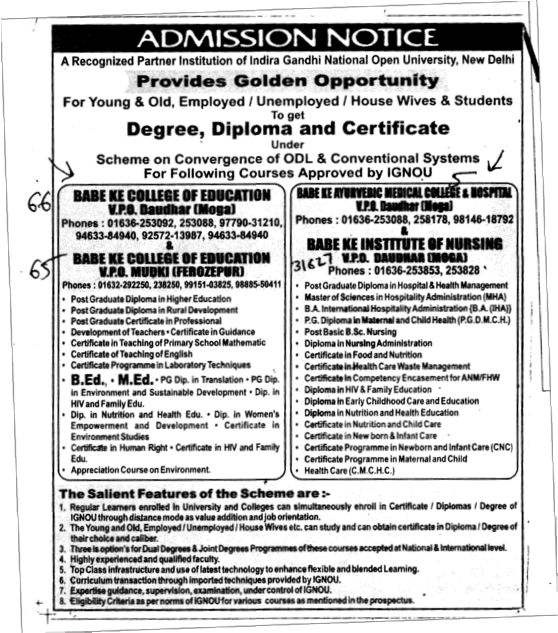 BEd and MEd Courses (Babe Ke Colleges Group)