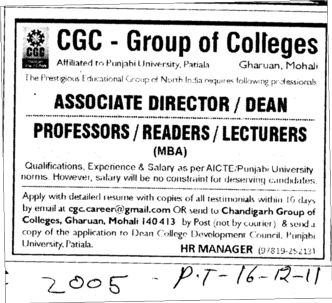 Dean Professor and Reader etc (Chandigarh Group of Colleges)