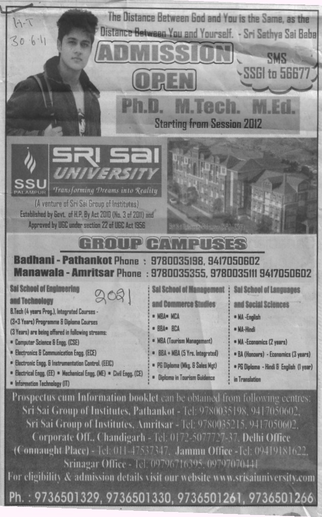 PhD MTech and MEd Programmes (Sri Sai Group of Instituties (SSGI))