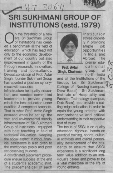 Message of Chairman Prof Avtar Singh (Sri Sukhmani Group of Institutes)