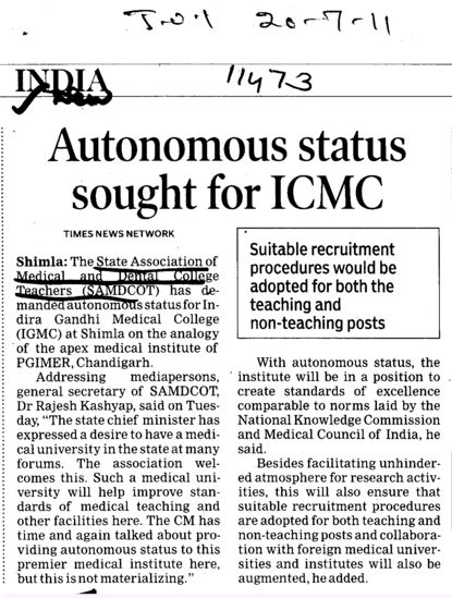 Autonomous status sought for ICMC (Indira Gandhi Medical College (IGMC))