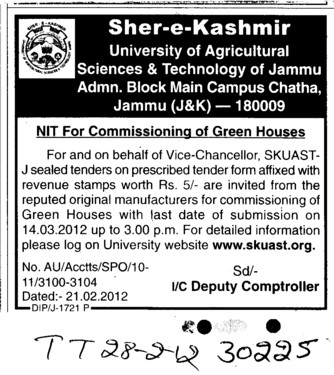 NIT for commisioning of green Houses (Sher-e-Kashmir University of Agricultural Sciences and Technology of Kashmir)