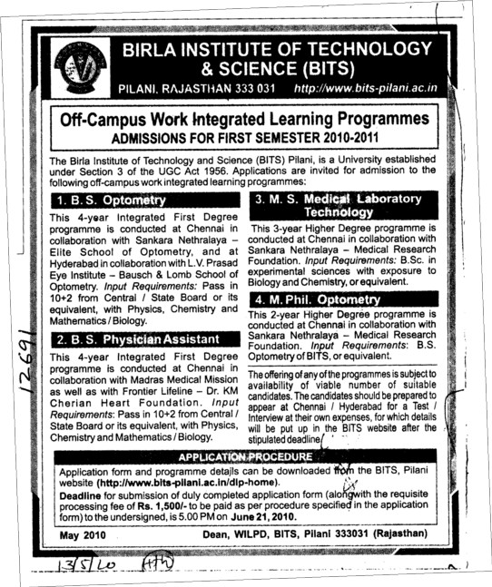 Off Campus integrated Learning Programmes (Birla Institute of Technology and Science (BITS))