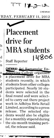 Placement Drive for MBA Students (Sri Ramanujar Engineering College (SREC))