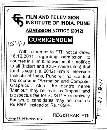 Change in the Admission (Film and Television Institute of India)