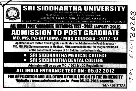 MD MS PG Diploma etc (Sri Siddhartha University)