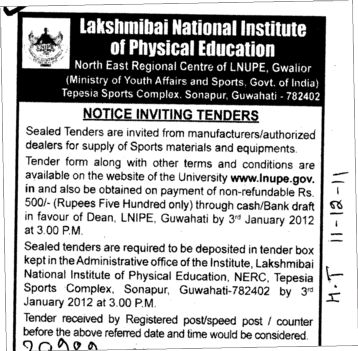 Supply of Sports materials and Equipments (Lakshmibai National University of Physical Education (LNUPE))