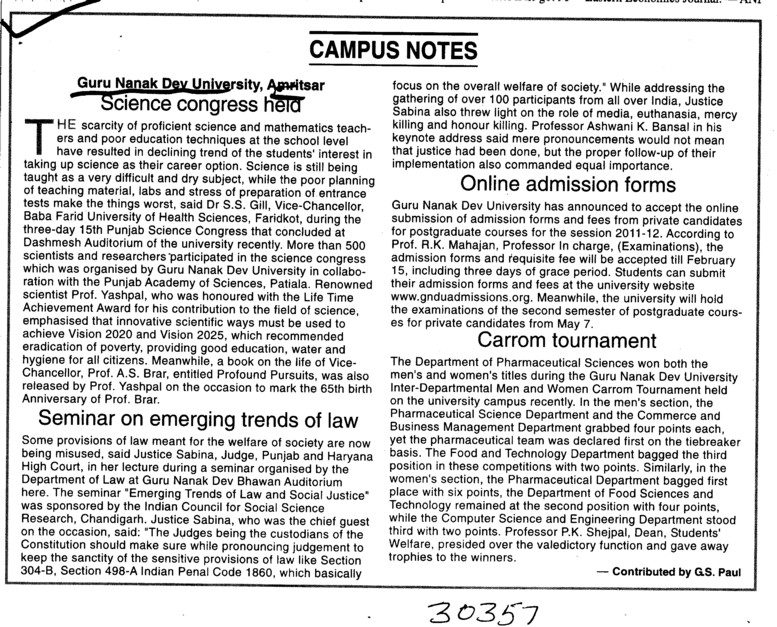 Campus Notes (Guru Nanak Dev University (GNDU))