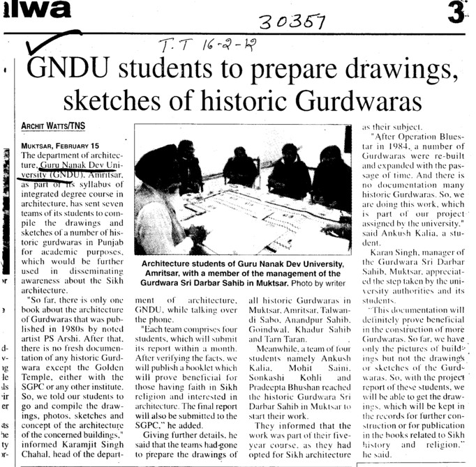 GNDU students to prepare drawings sketches of historic Gurdwaras (Guru Nanak Dev University (GNDU))