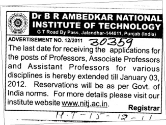 Professor Assistant Professor and Associate Professor (Dr BR Ambedkar National Institute of Technology (NIT))