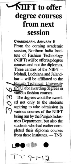 NIIFT to offer degree courses from next session (Punjab Technical University PTU)