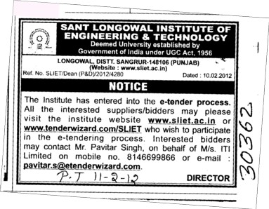 Suppliers and Bidders (Sant Longowal Institute of Engineering and Technology SLIET)