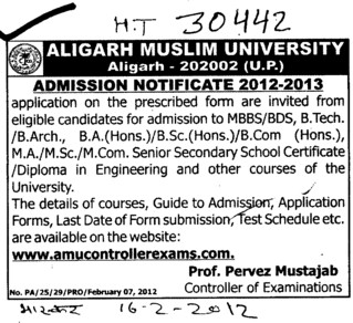 MBBS and BDS Programmes (Aligarh Muslim University (AMU))