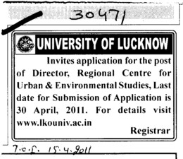 Director required (Lucknow University)