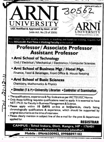 Professor Asstt Professor and Associate Professor (Arni University Kathgarh)