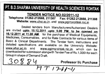 Purchase of Medical Equipments etc (Pt BD Sharma University of Health Sciences (BDSUHS))