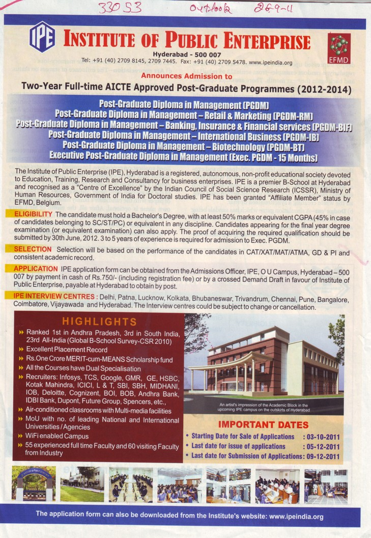 Post Graduate Programmes (Osmania University)