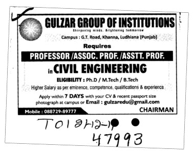 Professor Asstt Professor and Associate Professor (Gulzar Group of Instituties Khanna)