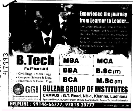 BTech MBA BBA and BCA etc (Gulzar Group of Instituties Khanna)
