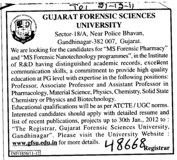 Professor Assistant Professor and Associate Professor (Gujarat Forensic Sciences University)