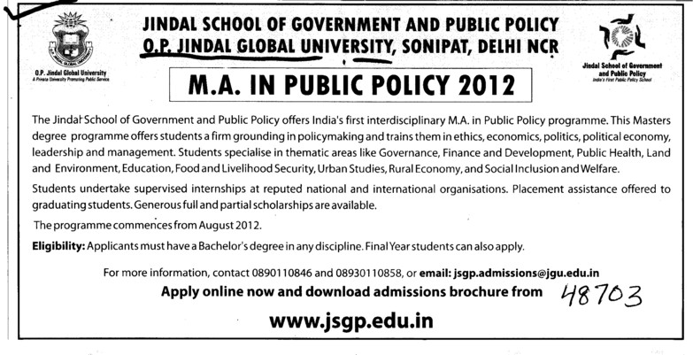 MA in Public Policy 2012 (OP Jindal Global University)