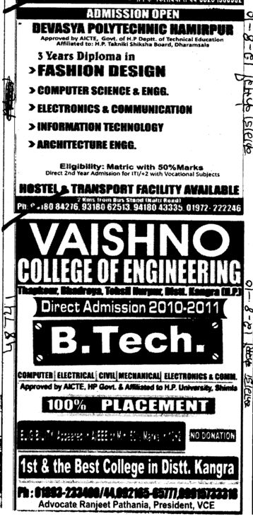 BTech in all trades (Vaishno College of Engineering)