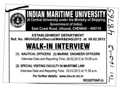 Nautical Officers and Marine Engineer Officer etc (Indian Maritime University)