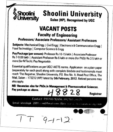 Professor Asstt Professor and Associate Professor (Shoolini University)