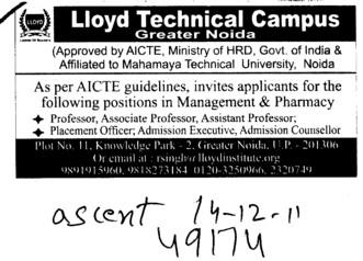 Professor Assistant Professor and Associate Professor (Lloyd Group of Institutions)