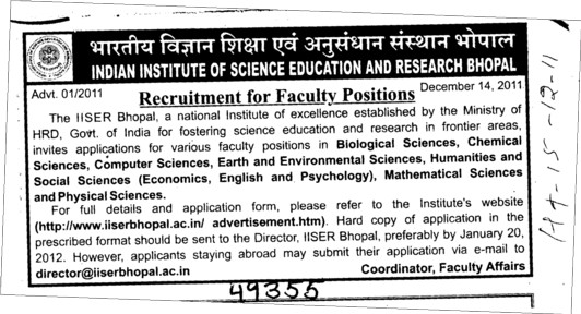 Recruitment of Faculty Position (Indian Institute of Science Education and Research (IISER))