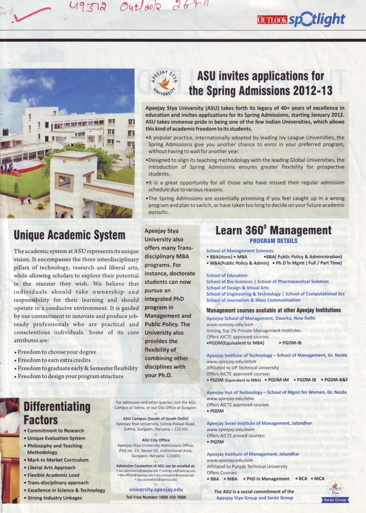 BBA and MBA Programmes (Apeejay Stya University)