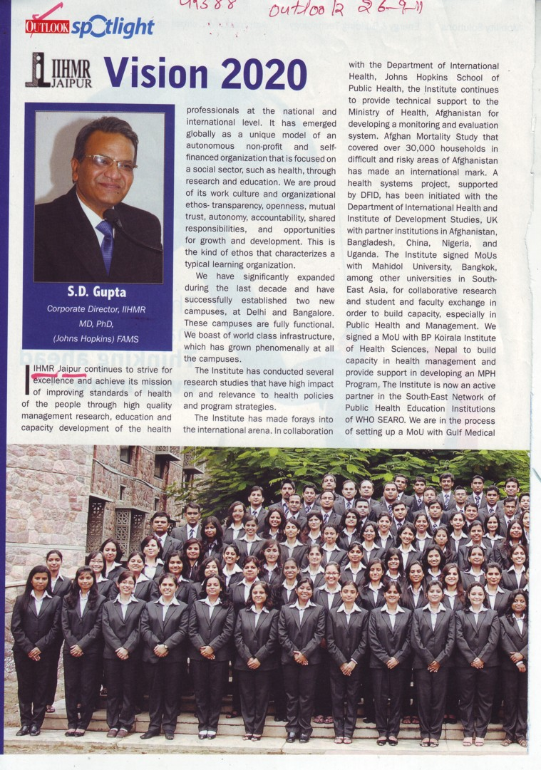 Message of Director S D Gupta (Indian Institute of Health Management Research (Society))