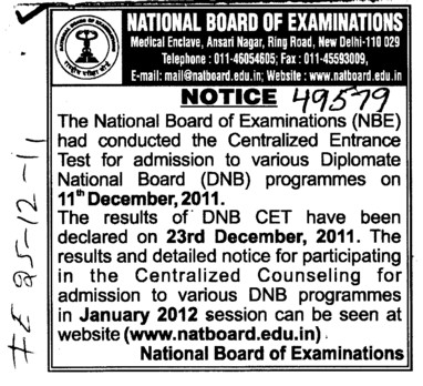 Diplomate National Board Programmes (National Board of Examinations)