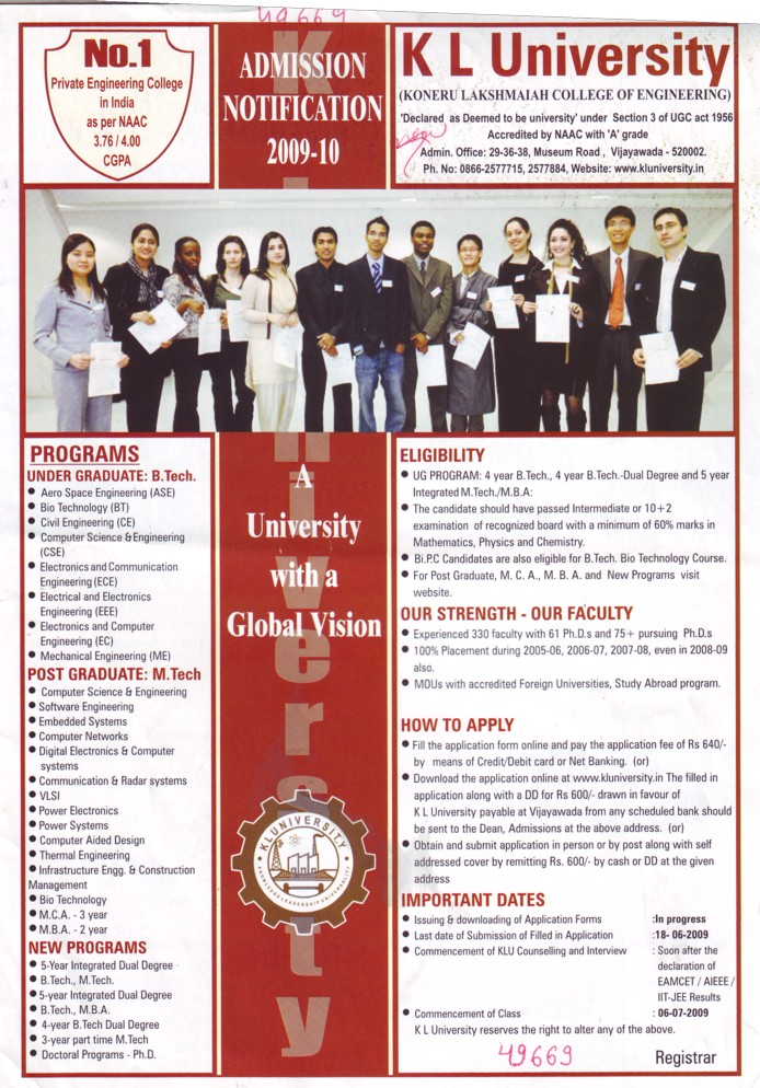 BTech and Post Graduate Programmes (KL University)