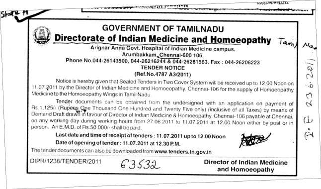 Sealed Tender in Two Cover System (Directorate of India Medicine and Homoeopathy Tamil Nadu)