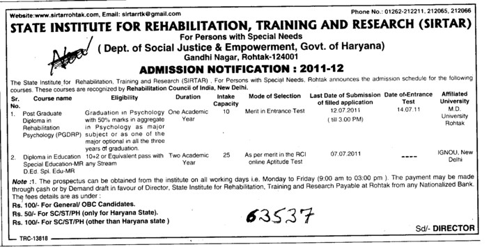 Post Graduate Diploma in Management (State Institute for Rehabilitation Training and Research (SIRTAR))
