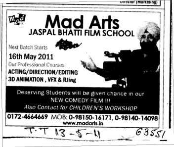 Acting Direction and Editing Courses (Mad Arts Jaspal Bhatti Film School)