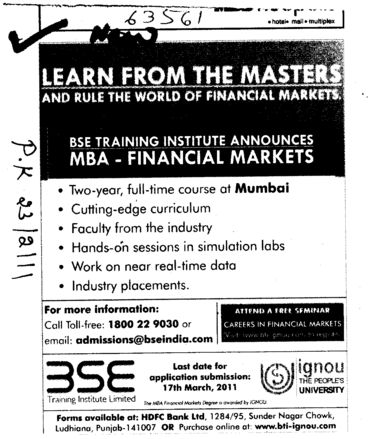 MBA in Financial Markets (BSE Training Institute)