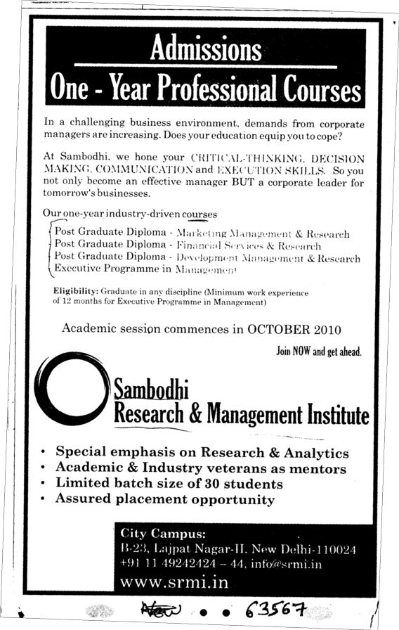Post Graduate Diploma in Marketing and Financial Service etc (Sambodhi Research and Management Institute)