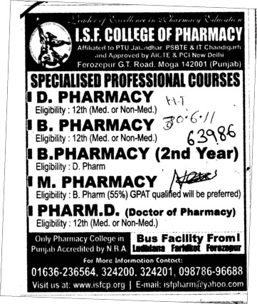 D Pharmacy and B Pharmacy etc (ISF College of Pharmacy)