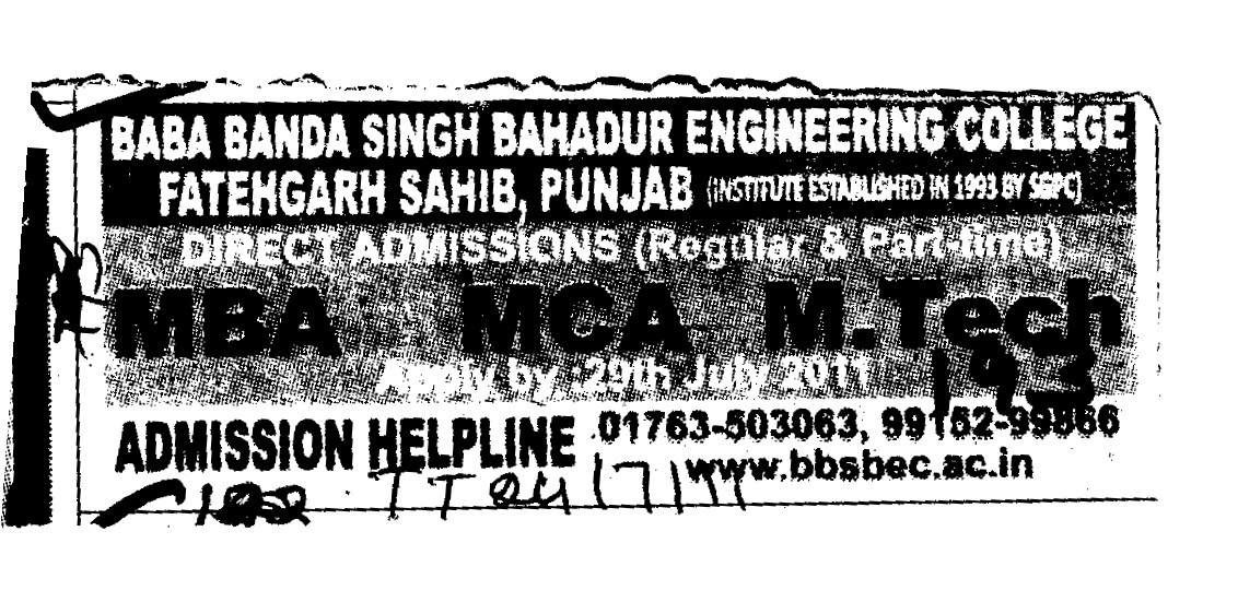 MBA and MCA Programmes (Baba Banda Singh Bahadur Engineering College (BBSBEC))