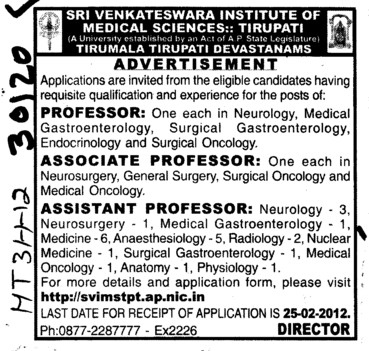 Professor Asstt Professor and Associate Professor (Sri Venkateswara Institute of Medical Sciences (SVIMS))
