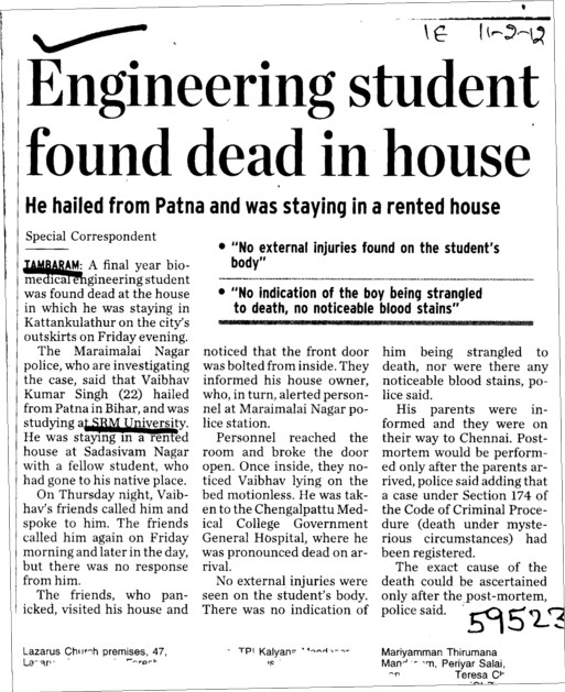 Engineering Student found dead in House (SRM University)
