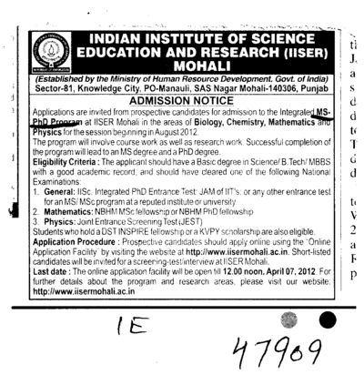 MS PhD Program (Indian Institute of Science Education and Research (IISER))