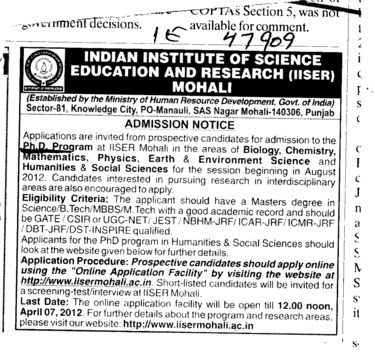 PhD Program (Indian Institute of Science Education and Research (IISER))