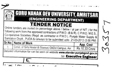 Construction of Girls Hostel (Guru Nanak Dev University (GNDU))