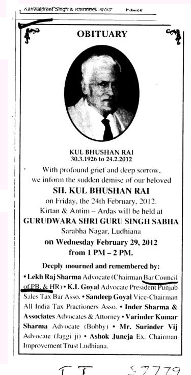 Obituary of Kul Bhushan Rai etc (Bar Council of Punjab and Haryana)